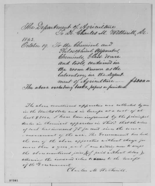 Charles M. Wetherill to Department of Agriculture, Monday, October 19, 1863  (Invoice)