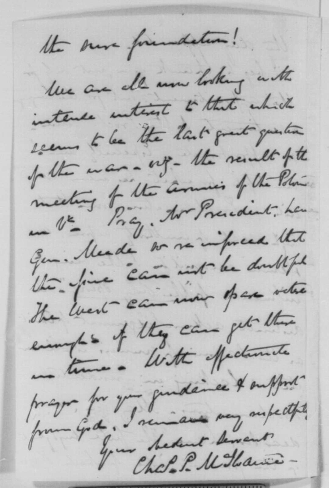 Charles P. McIlvaine to Abraham Lincoln, Monday, July 27, 1863  (Congratulations and support)