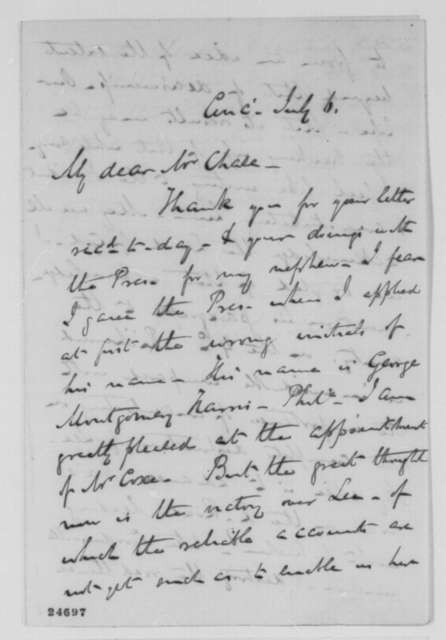 Charles P. McIlvaine to Salmon P. Chase, Monday, July 06, 1863  (Political and military affairs)
