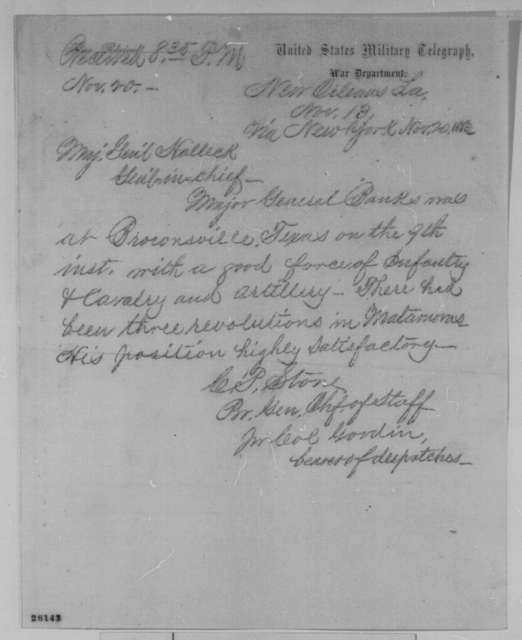 Charles P. Stone to Henry W. Halleck, Friday, November 13, 1863  (Telegram concerning condition of the army under General Banks)