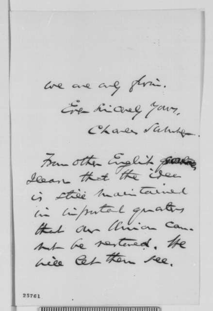 Charles Sumner to Abraham Lincoln, Friday, August 21, 1863  (Sends letters from Cobden and Bright)