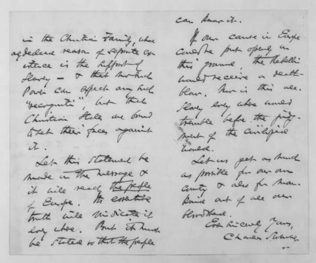 Charles Sumner to Abraham Lincoln, Monday, November 30, 1863  (British recognition of the Confederacy)