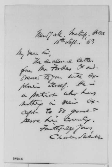 Charles Sumner to Abraham Lincoln, Thursday, September 10, 1863  (Sends letter to Lincoln from John M. Forbes)