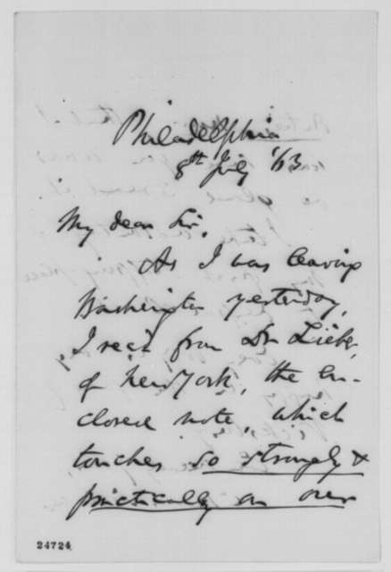 Charles Sumner to Abraham Lincoln, Wednesday, July 08, 1863  (Sends letter from Francis Lieber)
