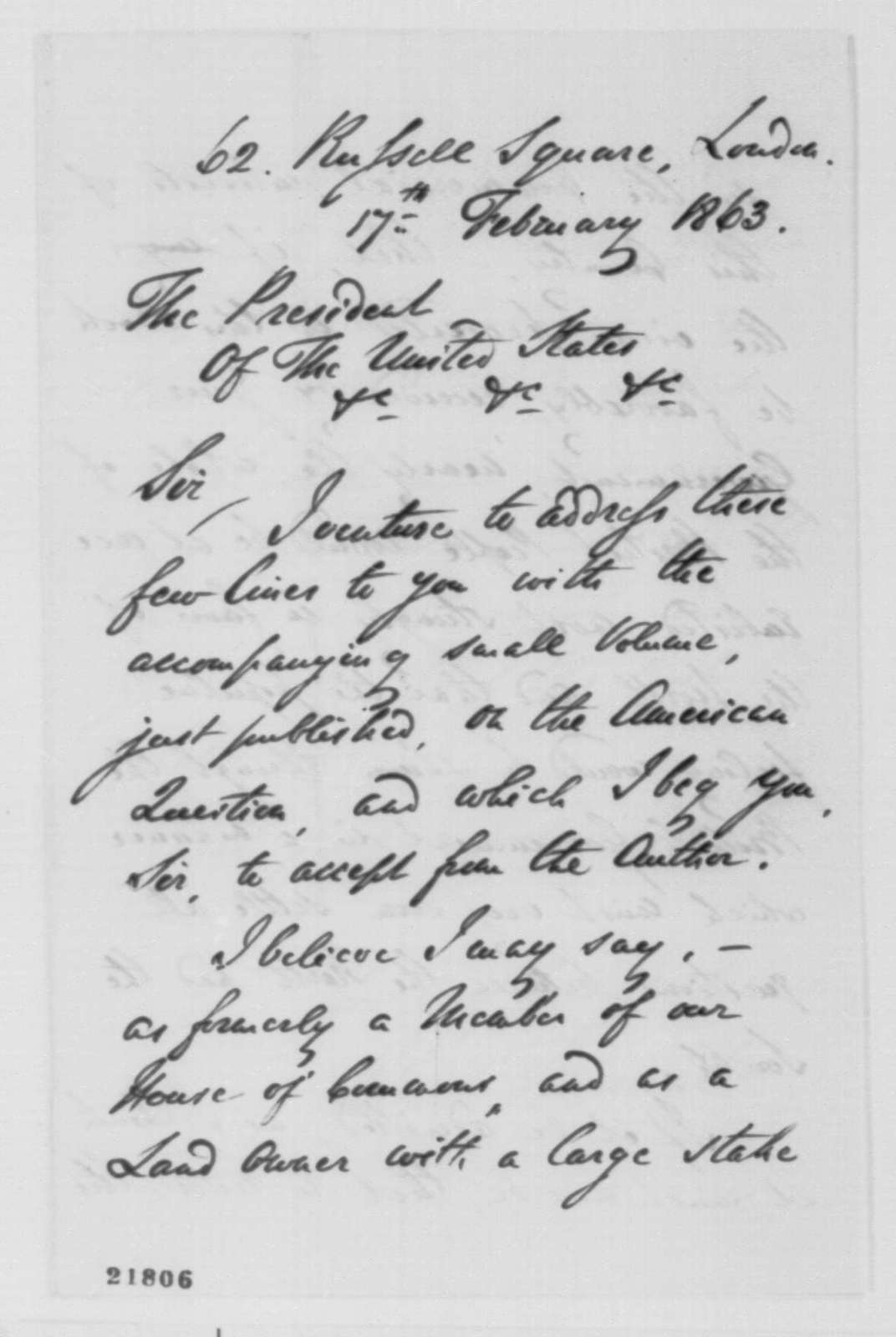 """Charles Tennant to Abraham Lincoln, Tuesday, February 17, 1863  (Sends his book on the """"American Question"""")"""