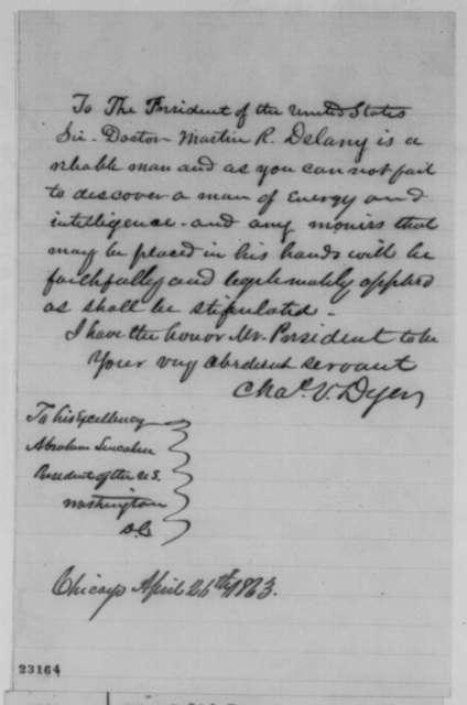 Charles V. Dyer to Abraham Lincoln, Sunday, April 26, 1863  (Martin R. Delany)