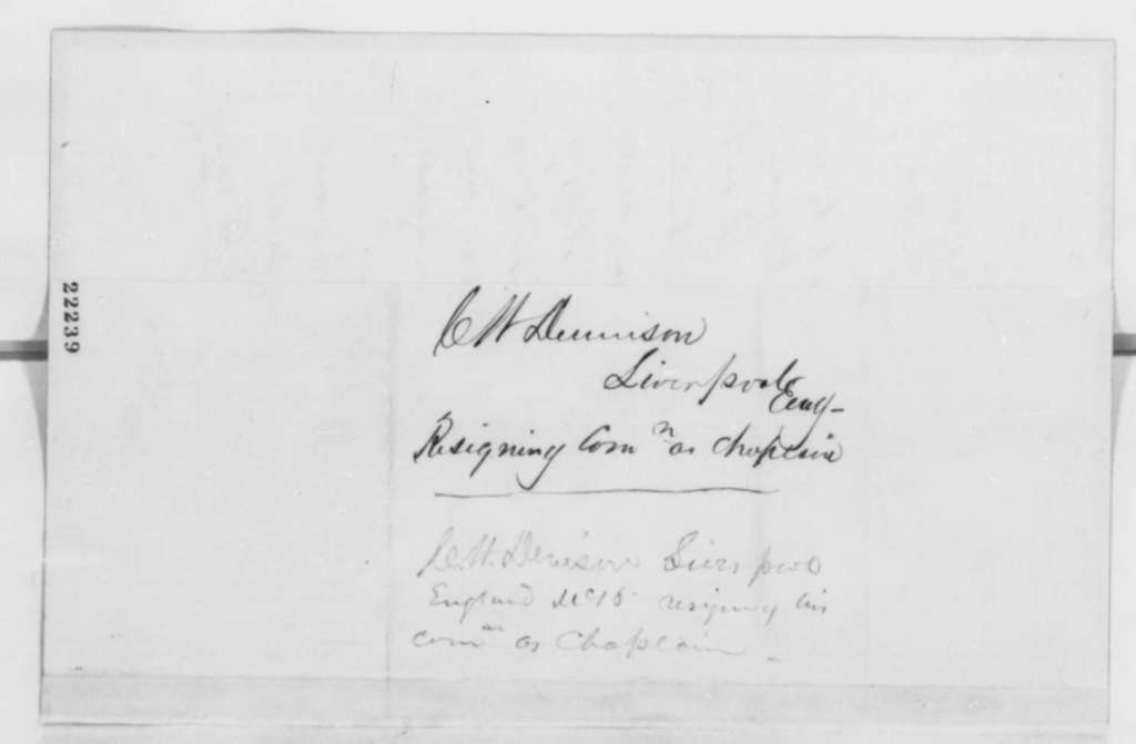 Charles W. Denison to Abraham Lincoln, Friday, March 06, 1863  (Resignation as hospital chaplain)
