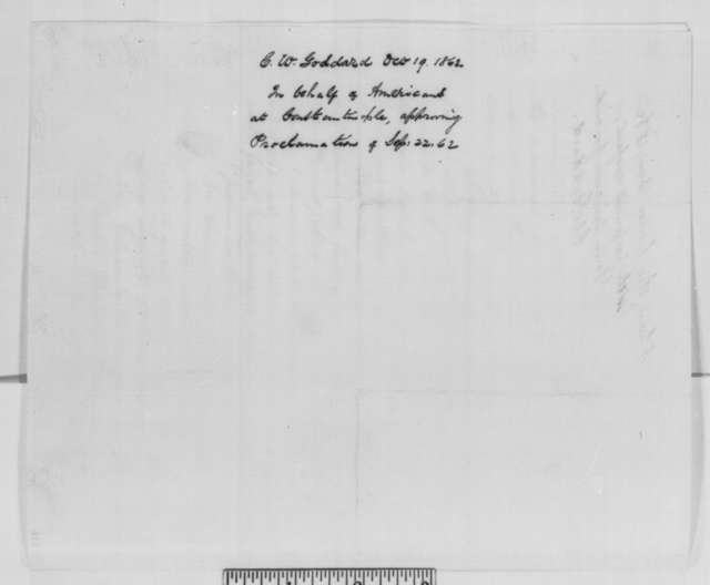 Charles W. Goddard to Abraham Lincoln, Monday, October 19, 1863  (Support from diplomat in Turkey)