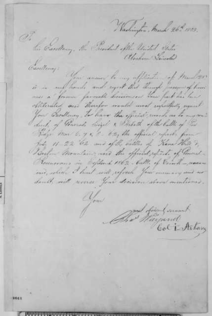 Charles Wiegand to Abraham Lincoln, Thursday, March 26, 1863  (Seeks commission)