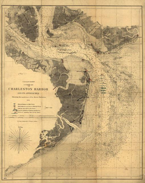 Charleston Harbor and its approaches showing the positions of the Rebel batteries.
