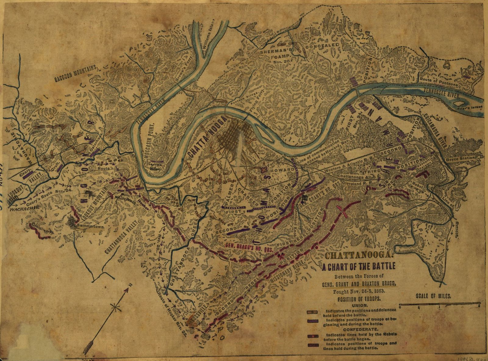 Chattanooga A chart of the battle between the forces of Gens. Grant and Braxton Bragg, fought Nov. 24-5 1863.