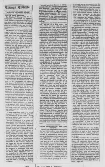 Chicago Tribune, Monday, December 14, 1863  (Clipping)