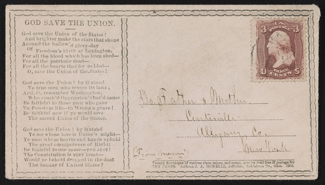 """[Civil War envelope with """"God save the Union""""]"""