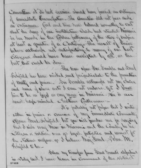 Clinton B. Fisk to Abraham Lincoln, Saturday, October 24, 1863  (Military affairs in Missouri)