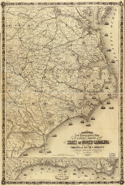 Colton's New topographical map of the eastern portion of the state of North Carolina : with part of Virginia & South Carolina, from the latest & best authorities /