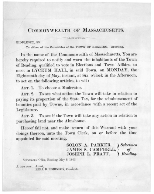 Commonwealth of Massachusetts. Middlesex ss. To either of the Constables of the Town of Reading,- Greeting.- In the name of the Commonwealth of Massachusetts, you are hereby required to notify and warn the inhabitants of the Town of Reading, qua
