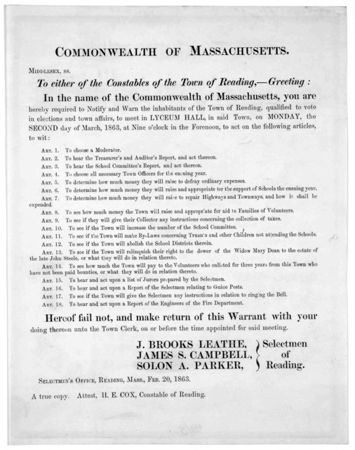 Commonwealth of Massachusetts. Middlesex ss. To either of the constables of the Town of Reading,- Greeting: In the name of the Commonwealth of Massachusetts, you are hereby required to notify and warn the inhabitants of the Town of Reading, qual