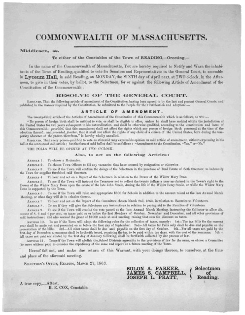 Commonwealth of Massachusetts. Middlesex. ss. To either of the constables of the Town of Reading.- Greeting.- In the name of the Commonwealth of Massachusetts, you are hereby required to notify and warn the inhabitants ... qualified to vote ...