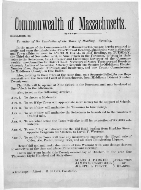 Commonwealth of Massachusetts. Middlesex ss. To either of the constables of the Town of Reading,- Greeting. In the name of the Commonwealth of Massachusetts, you are hereby required to notify and warn the inhabitants of the Town of Reading, qual