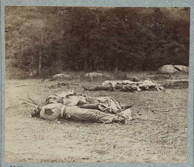 Confederate soldiers as they fell near the center of the battlefield of Gettysburg