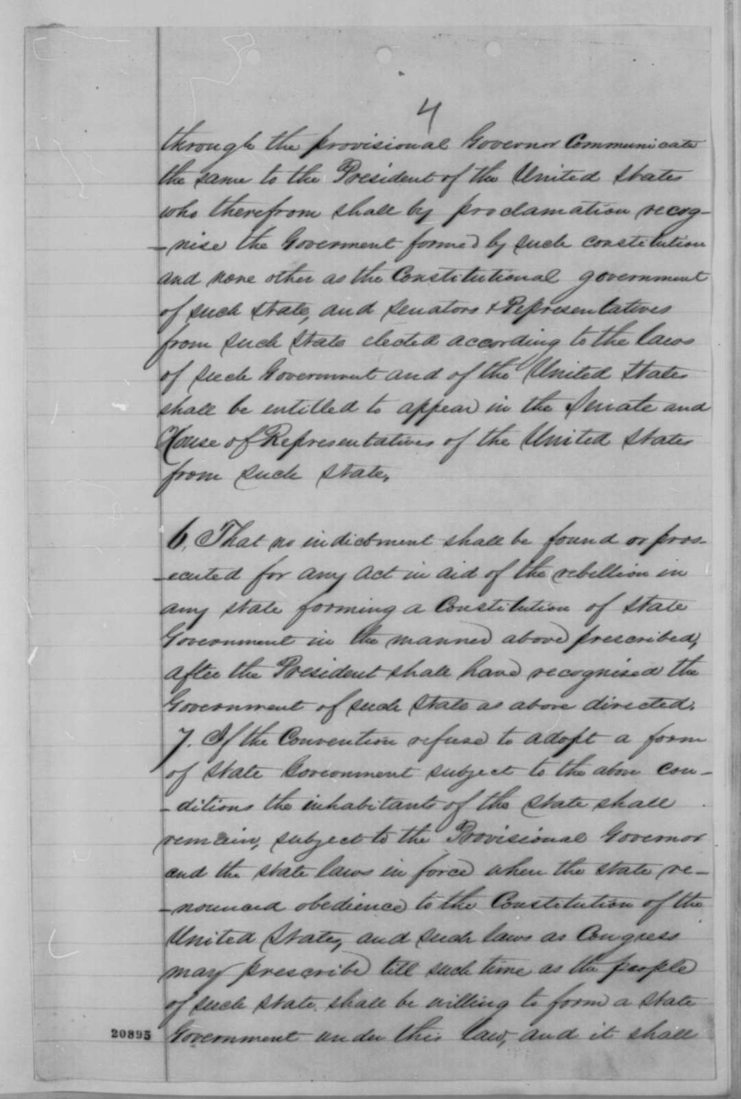 Congress, Thursday, January 01, 1863  (Draft of bill to guarantee republican form of government to every state)
