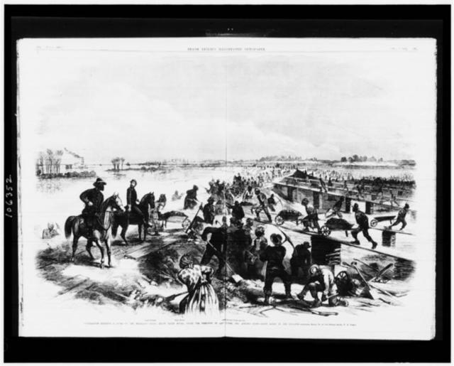 Contrabands building a levee on the Mississippi river, below Baton Rouge, under the direction of Capt. Hodge, Gen. Augur's staff - Baton Rouge in the distance / sketched March 13, by our special artist, F.H. Schell.