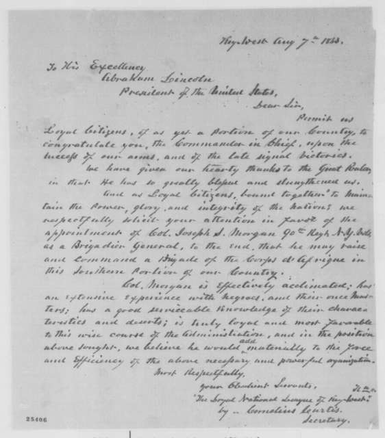 Cornelius Curtis to Abraham Lincoln, Friday, August 07, 1863  (Sends resolutions of Loyal National League of Key West recommending Joseph Morgan for brigadier general)