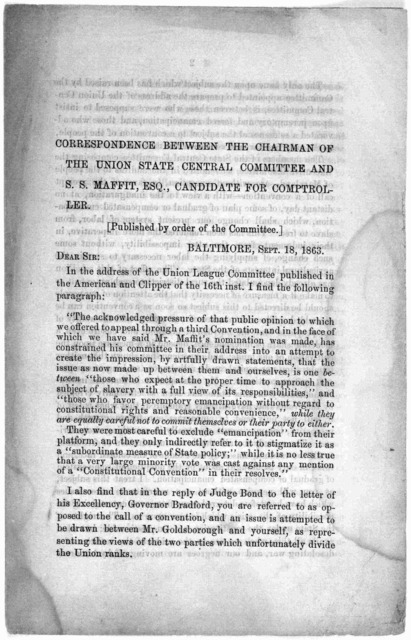 Correspondence between the chairman of the Union state central committee and S. S. Maffitt, Esq., candidate for comptroller. Published by order of the Committee. [1863].