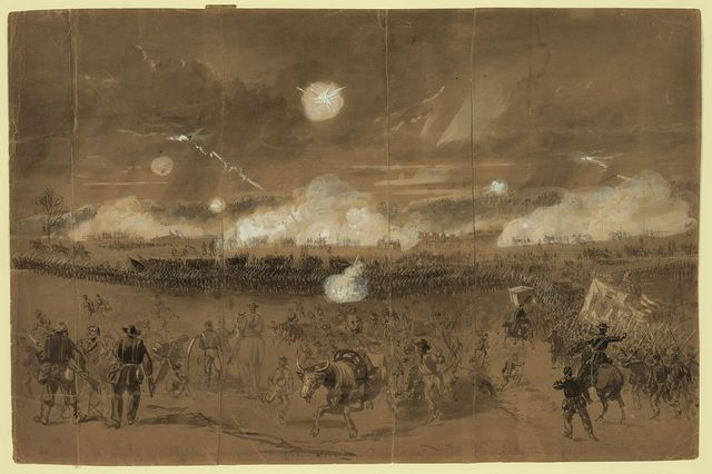Couch's Corps forming line of battle in the fields at Chancellorsville to cover the retreat of the Eleventh Corps disgracefully running away