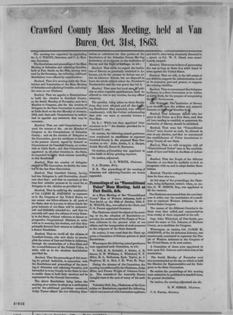 Crawford County Arkansas Union Men, Saturday, October 31, 1863  (Printed circular)