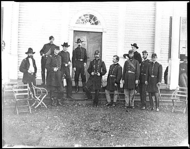 [Culpeper, Va. Gen. George G. Meade and staff on steps of Wallack's house]