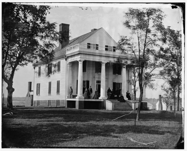 Culpeper, Virginia (vicinity). Residence of John Minor Botts. (Family on porch)