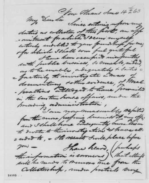 Cuthbert Bullitt to Abraham Lincoln, Sunday, June 14, 1863  (New Orleans customs house)