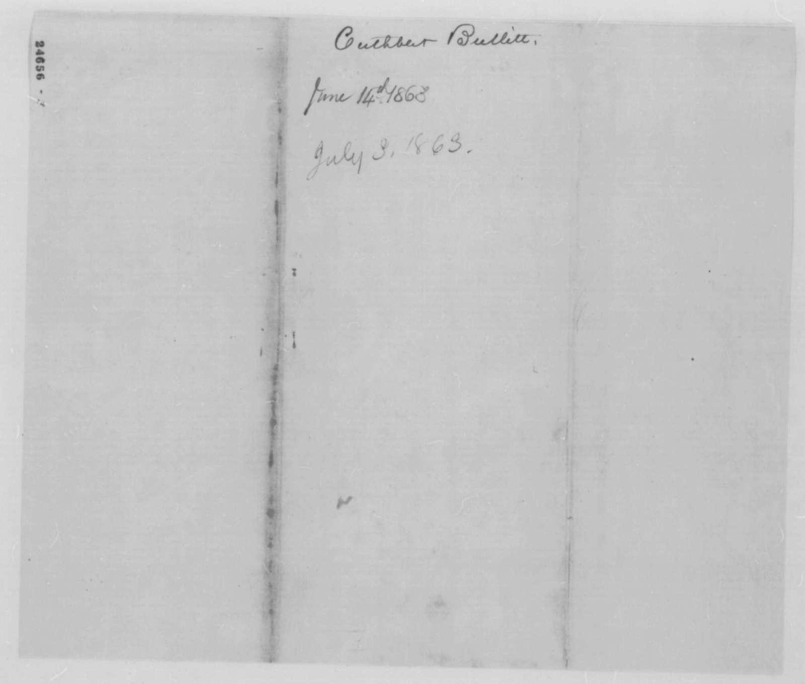 Cuthbert Bullitt to John G. Nicolay, Friday, July 03, 1863  (Cover letter)
