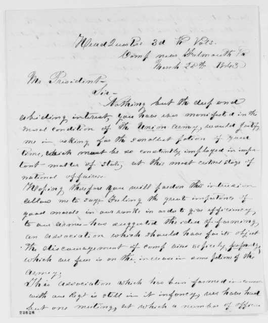 D. A. Mack to Abraham Lincoln, Wednesday, March 25, 1863  (Requests Lincoln's endorsement for an organization devoted to curbing camp vices)