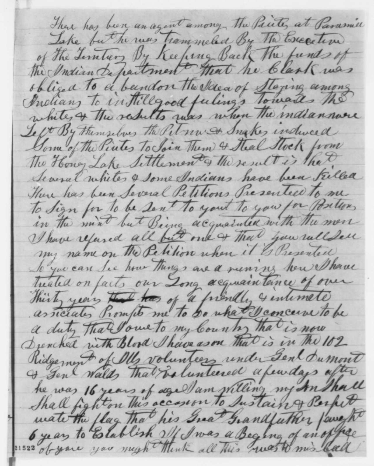 D. E. Edgar to Abraham Lincoln, Tuesday, February 03, 1863  (Conspiracy to form a separate republic in the West)