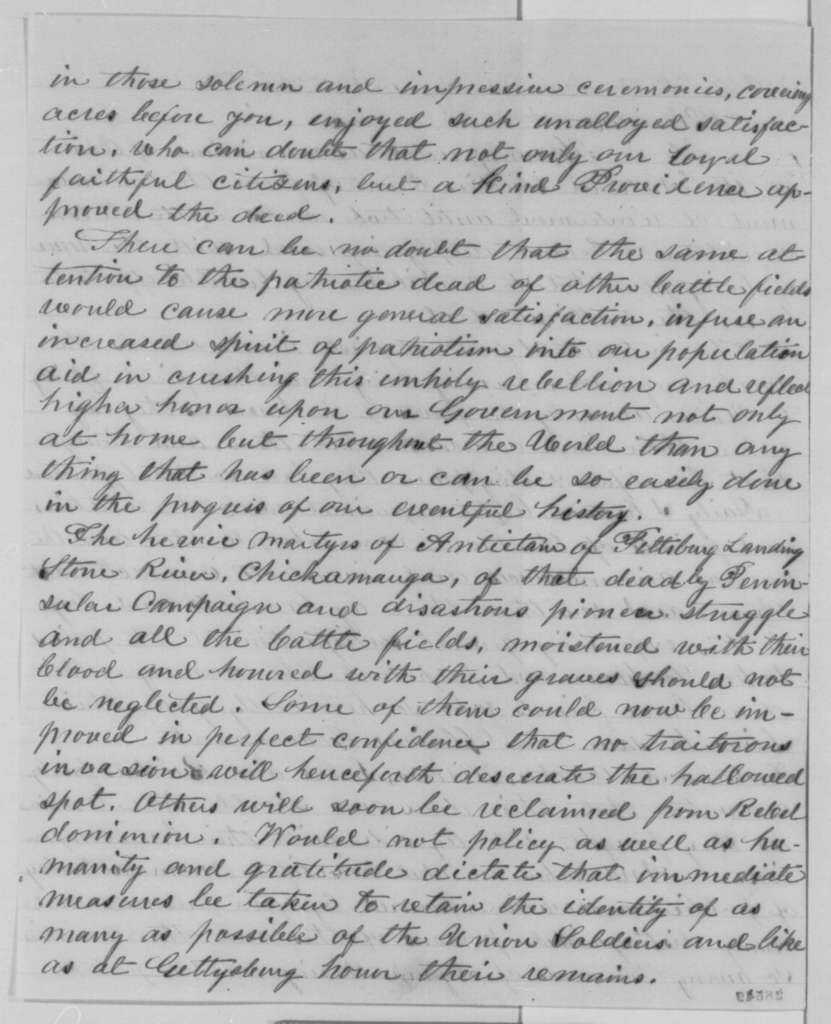 D. W. Brown to Abraham Lincoln, Tuesday, December 08, 1863  (Preservation of battlefields)