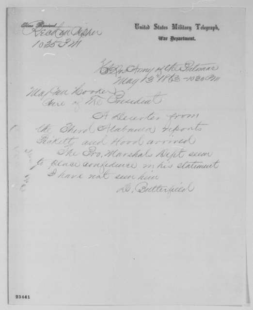 Daniel Butterfield to Joseph Hooker, Wednesday, May 13, 1863  (Telegram concerning military affairs)