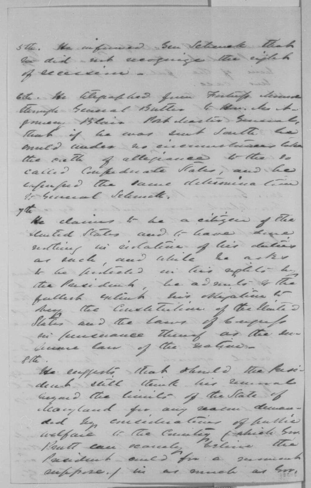 Daniel Clark, December 1863  (Notes on case of Thomas G. Pratt)