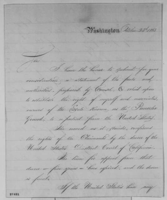 Daniel E. Sickles to Abraham Lincoln, Friday, October 23, 1863  (California land claim)