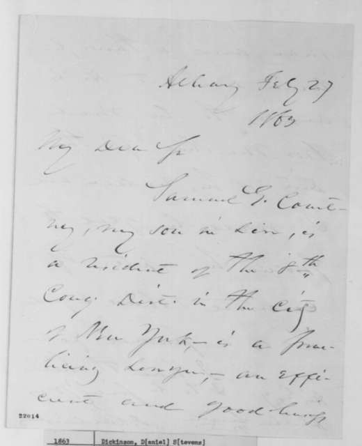 Daniel S. Dickinson to Abraham Lincoln, Friday, February 27, 1863  (Recommends Samuel Courtney for appointment)
