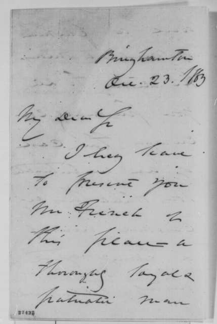 Daniel S. Dickinson to Abraham Lincoln, Friday, October 23, 1863  (Introduces Mr. French)