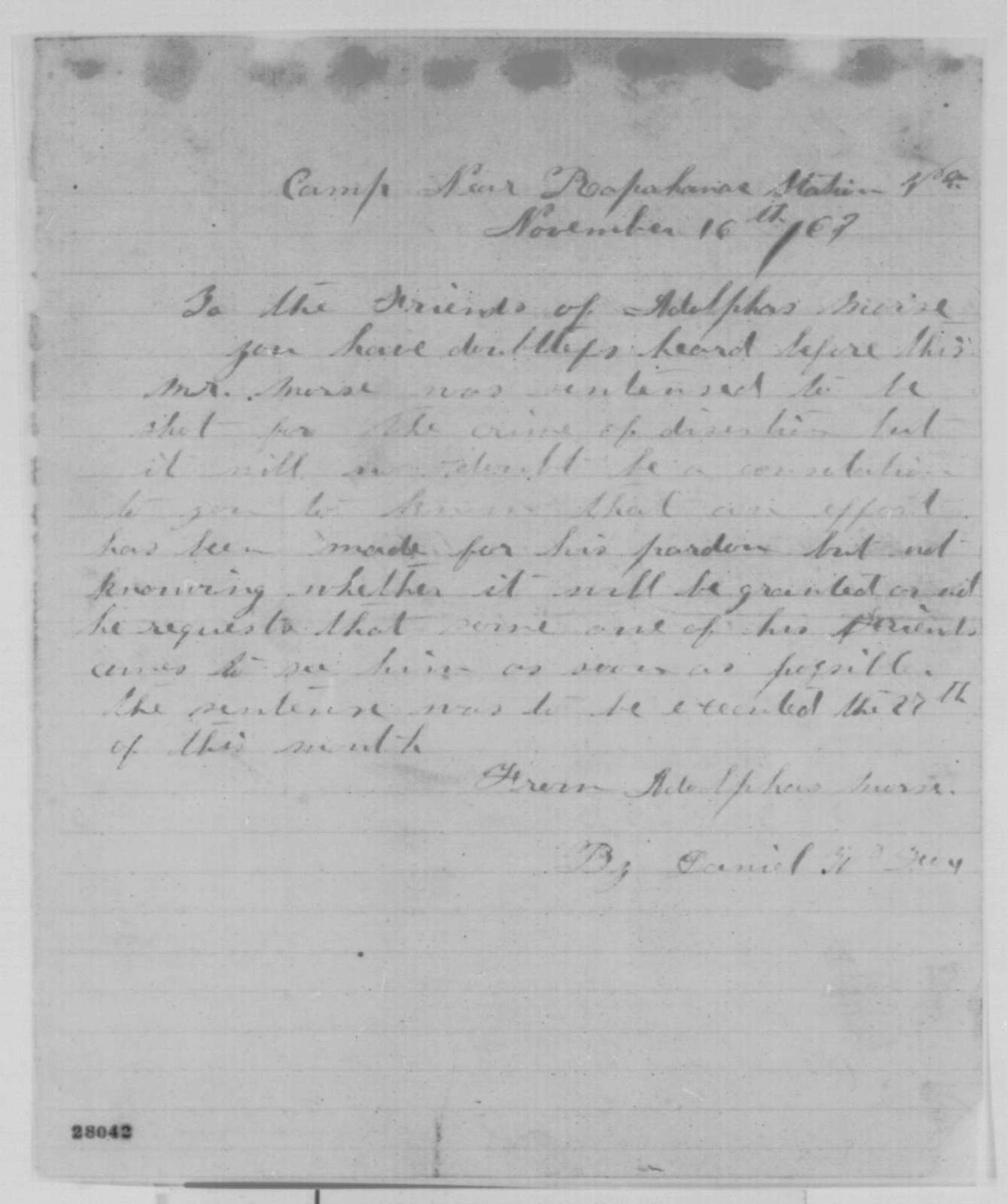 Daniel W. Fox to The Friends of Adolphus Morse, Monday, November 16, 1863  (Pardon for Morse)