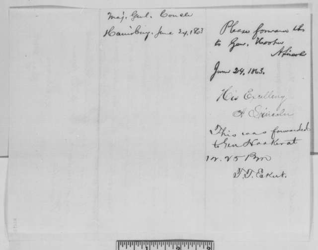 Darius N. Couch to Abraham Lincoln, Wednesday, June 24, 1863  (Telegram reporting presence of rebel troops in Pennsylvania; endorsed by Lincoln and Thomas T. Eckert)