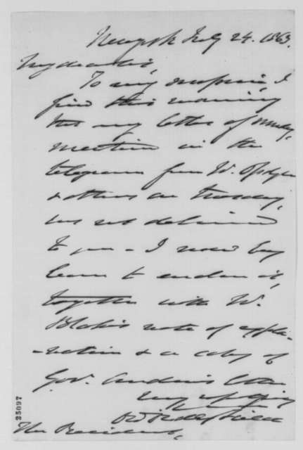 David D. Field to Abraham Lincoln, Friday, July 24, 1863  (Cover letter)