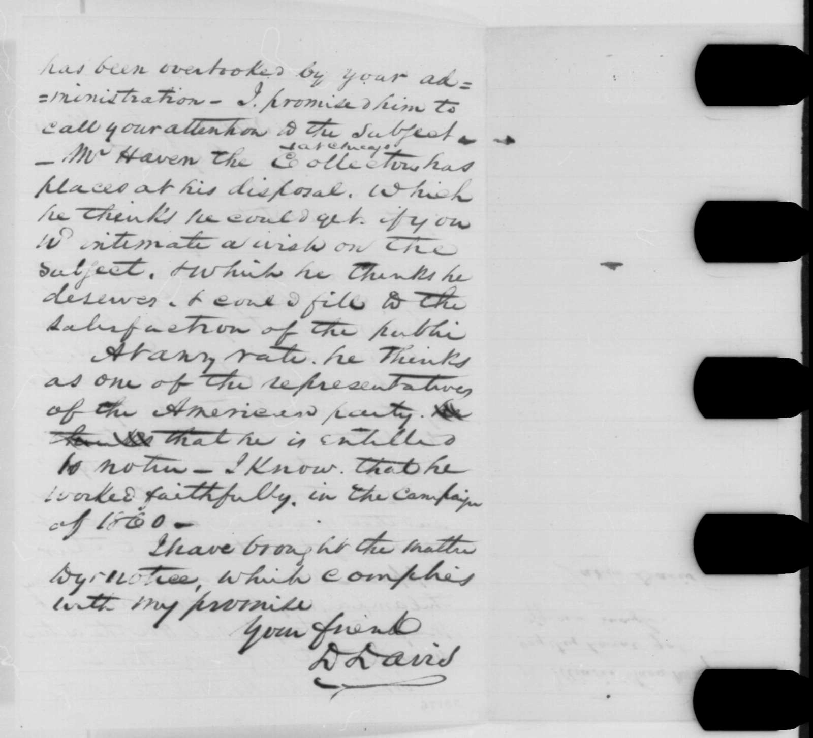 David Davis to Abraham Lincoln, Tuesday, July 28, 1863  (Patronage for Illinois Know Nothings)