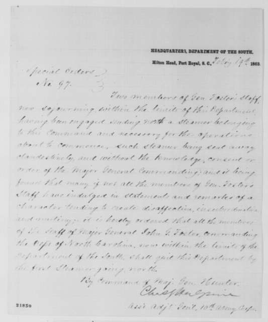 David Hunter, Thursday, February 19, 1863  (Special Orders; signed by Charles G. Halpine)