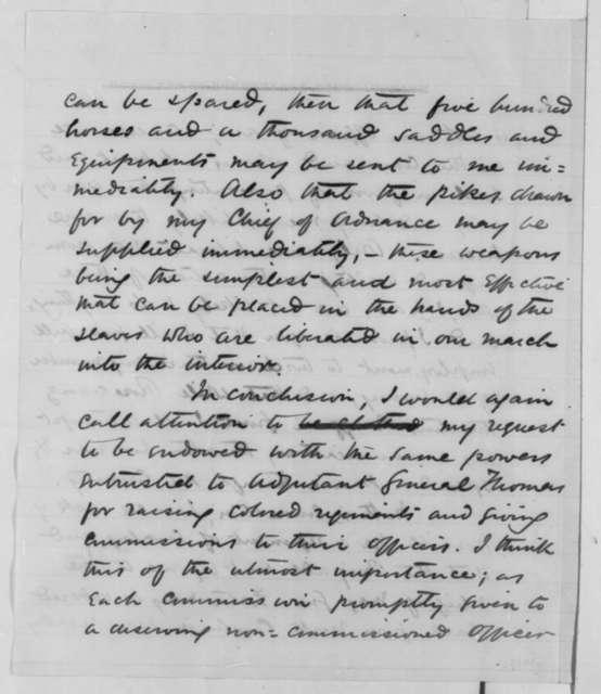 David Hunter to Abraham Lincoln, Friday, May 22, 1863  (Attack upon Charleston and raising black regiments)