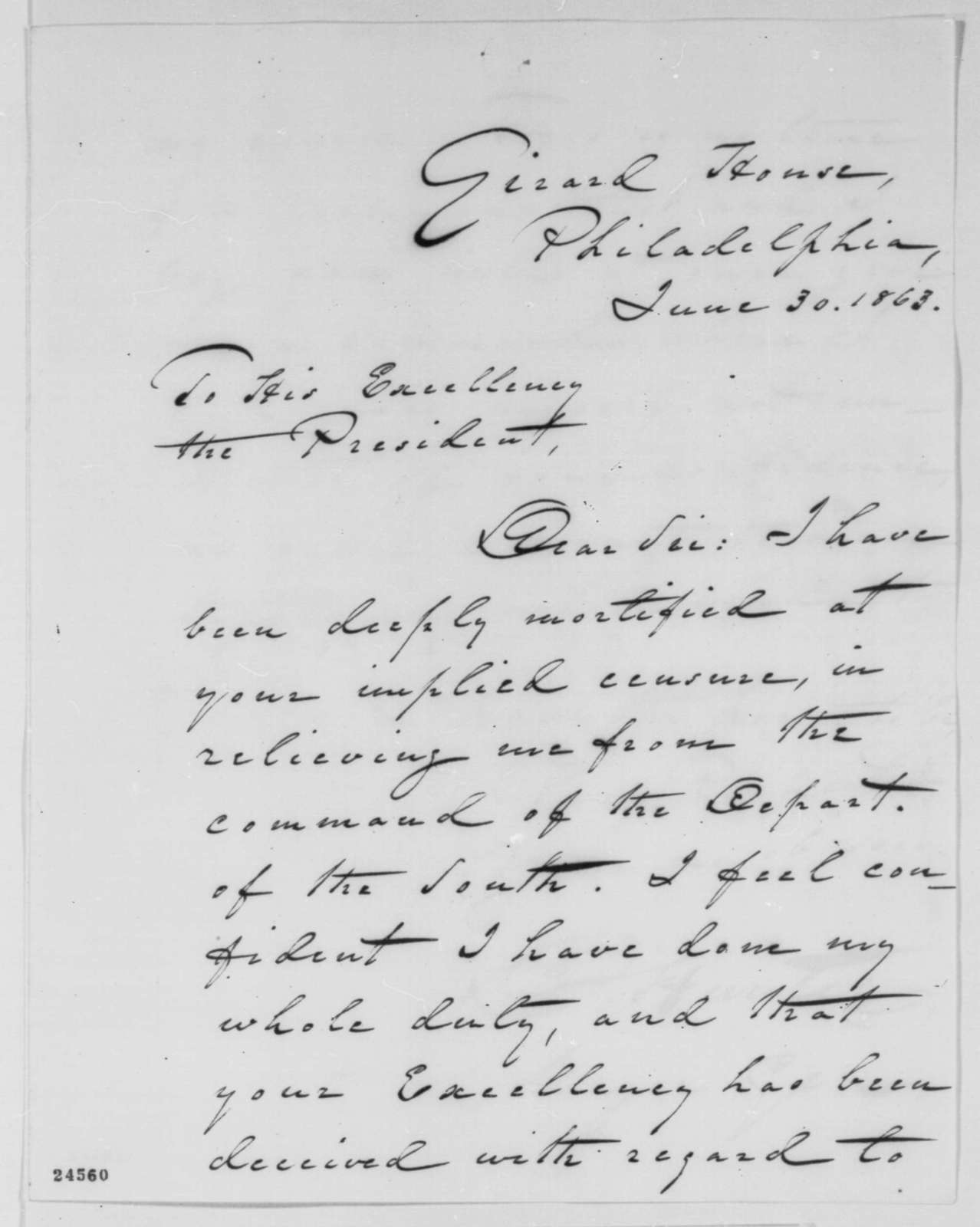 David Hunter to Abraham Lincoln, Tuesday, June 30, 1863  (Requests new command)