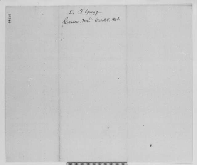 David L. Gregg to Abraham Lincoln, Wednesday, October 28, 1863  (Support)
